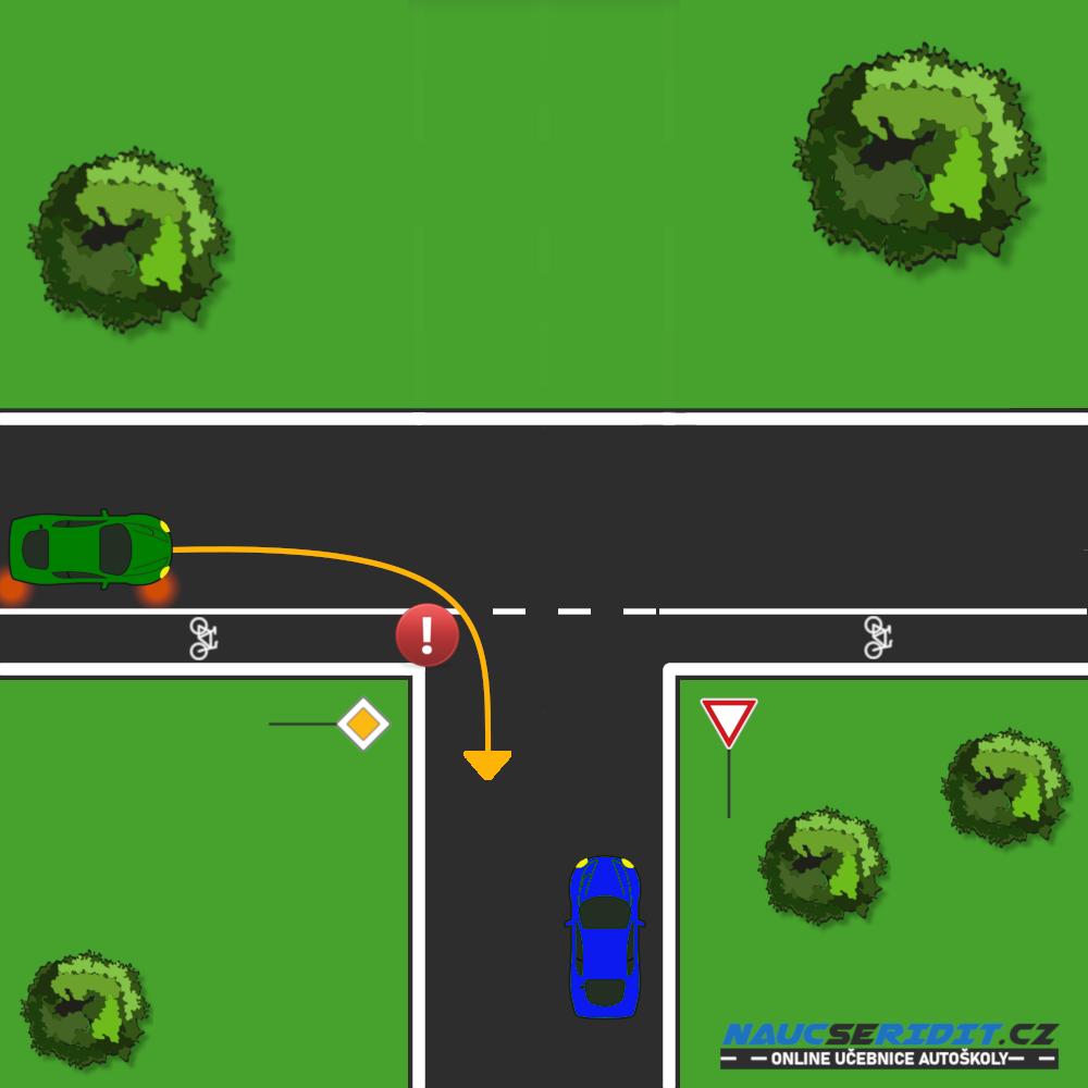 Odbočování přes pruh pro cyklisty