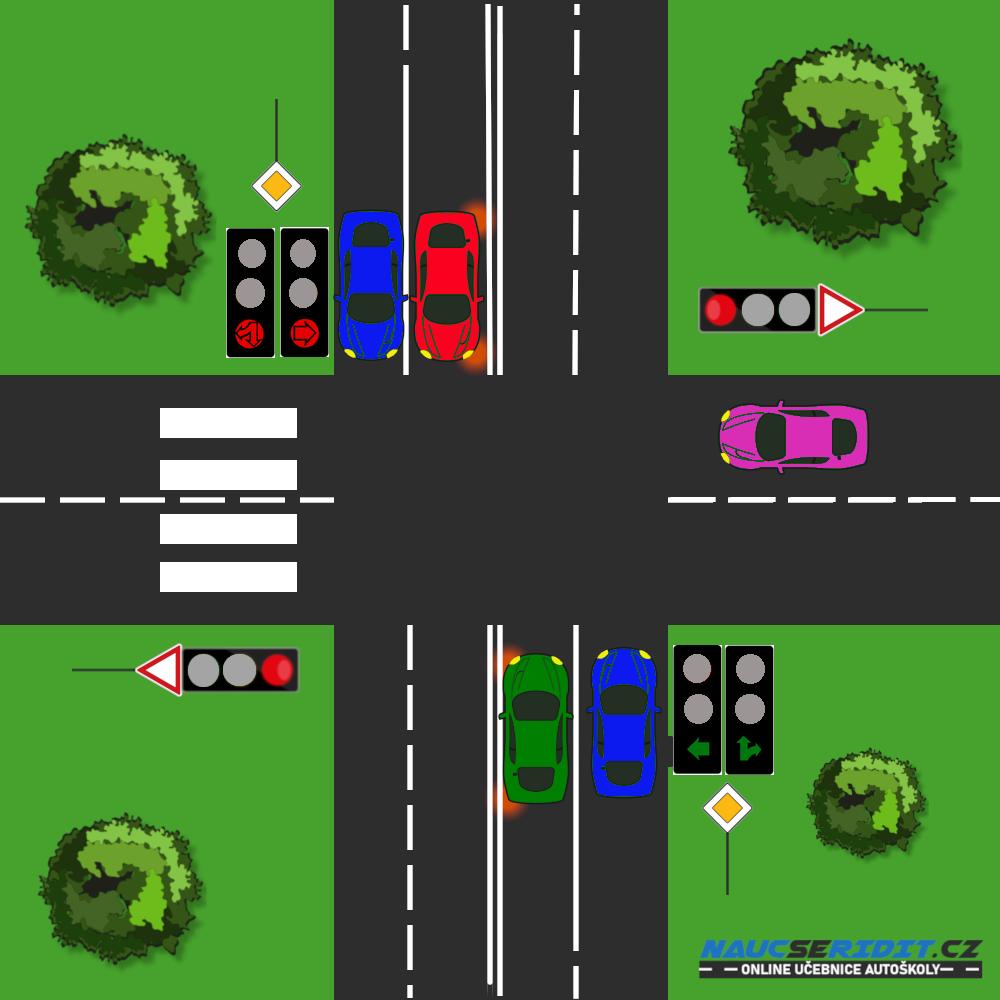 Křižovatka se semaforem se šipkou vlevo