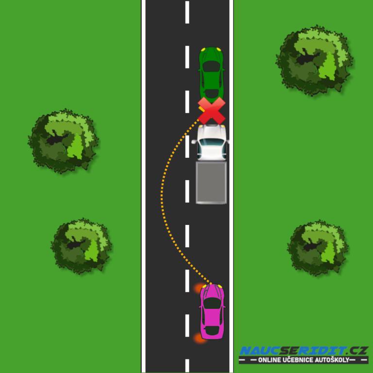 Předjíždění nákladního automobilu